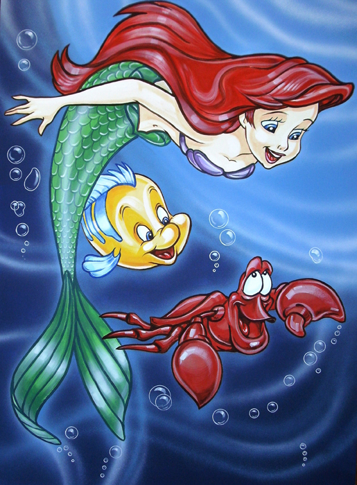 ariel sebastian and flounder kids art murals