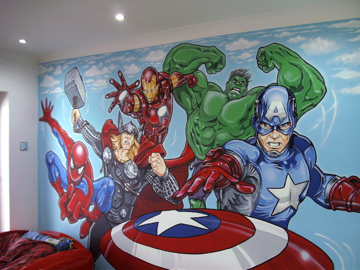 Marvel avengers kids art murals for Avengers wall mural uk